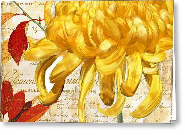 Autumn Flowers Greeting Cards - Chrysanthemes Greeting Card by Mindy Sommers