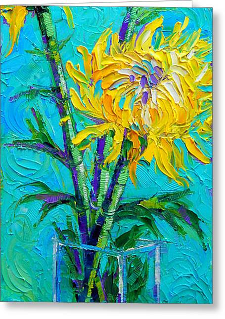 Chrysanthemums In A Vase Greeting Card by Mona Edulesco