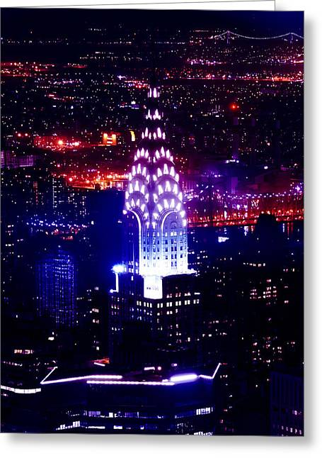 Chrysler Building At Night Greeting Card by Az Jackson
