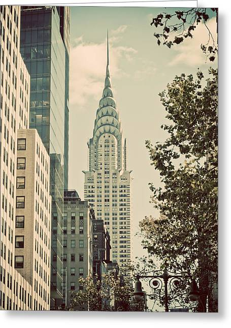 New York City Fire Escapes Greeting Cards - Chrysler building Greeting Card by Darren Martin
