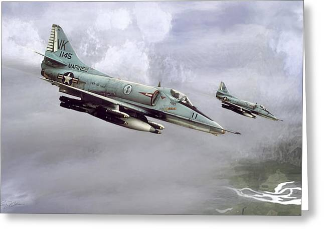Knighted Digital Greeting Cards - Chu Lai Skyhawks Greeting Card by Peter Chilelli