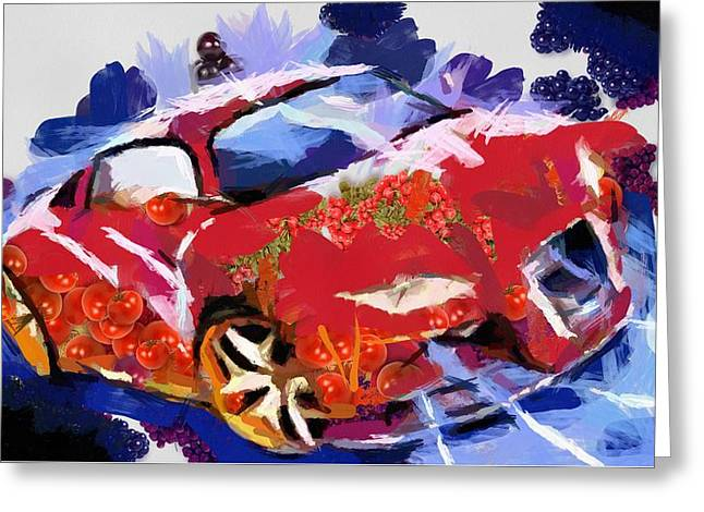 Print On Canvas Greeting Cards - Chubby Car Red Greeting Card by Catherine Lott
