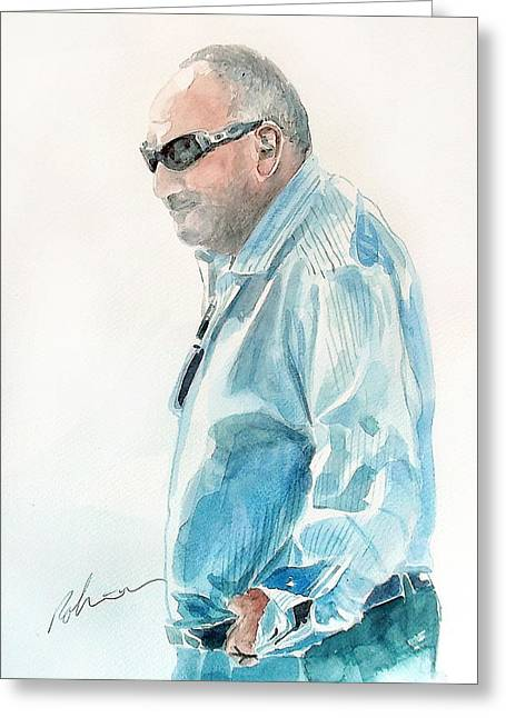 Star Greeting Cards - Chubby Chandler Watercolor Greeting Card by Mark Robinson