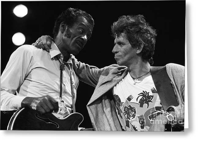 Chuck Berry And Keith Richards Greeting Card by Terry O'Neill
