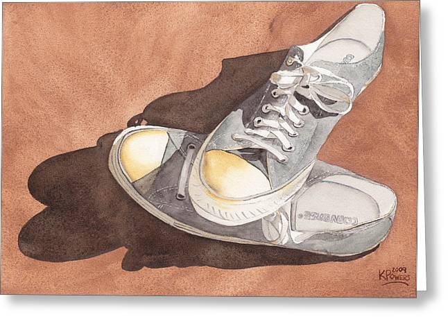 All-star Paintings Greeting Cards - Chucks Greeting Card by Ken Powers