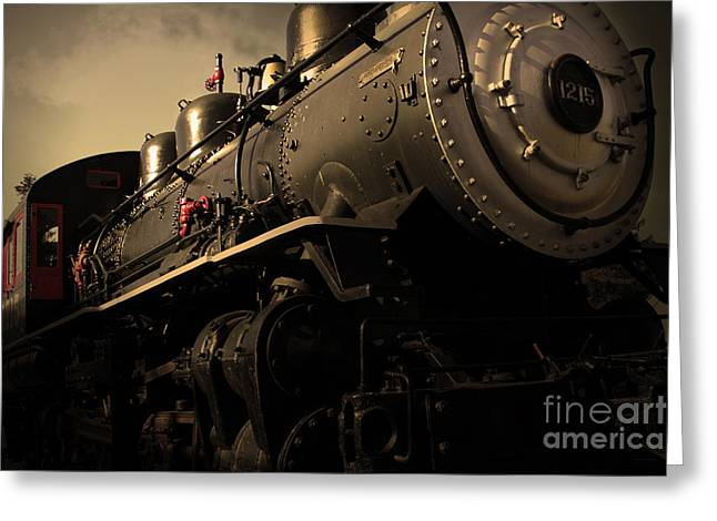 Wingsdomain Photographs Greeting Cards - Chugging Across America in The Age of Steam . Golden Cut . 7D12980 Greeting Card by Wingsdomain Art and Photography