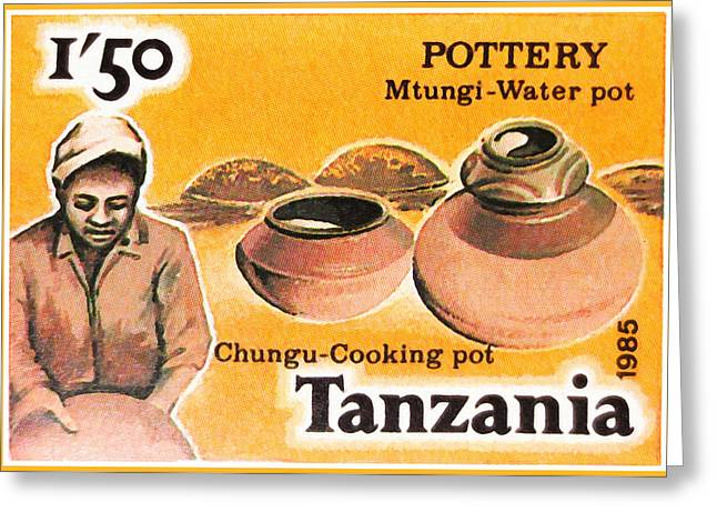 African Heritage Greeting Cards - Chungu-Cooking pot Greeting Card by Lanjee Chee