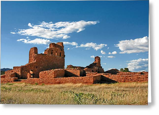 Pueblo Architecture Greeting Cards - Church Abo - Salinas Pueblo Missions Ruins - New Mexico - National Monument Greeting Card by Christine Till