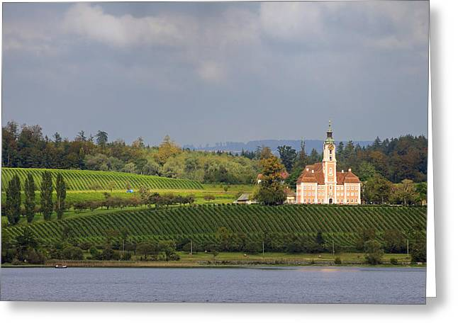 Great Wine Greeting Cards - Church Birnau Lake Constance in great landscape Greeting Card by Matthias Hauser
