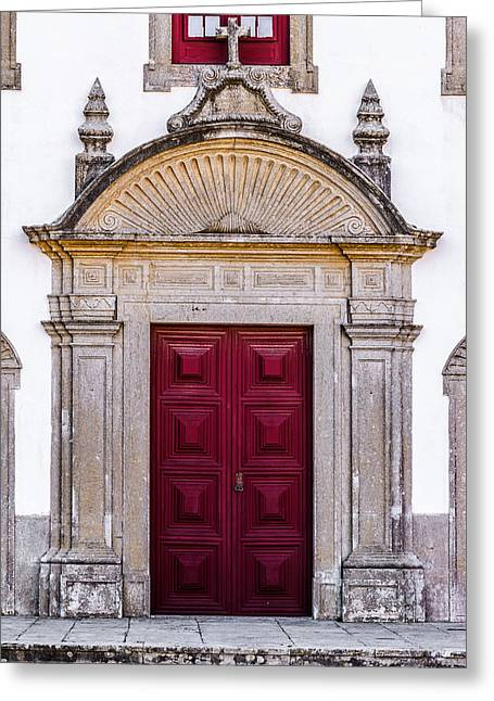 Church Door Greeting Card by Marco Oliveira
