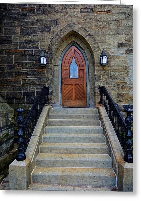 Stepping Stones Greeting Cards - Church Door Greeting Card by Richard Jenkins