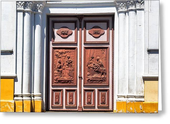 Cuenca Greeting Cards - Church Entrance in Cuenca Ecuador Greeting Card by Jess Kraft
