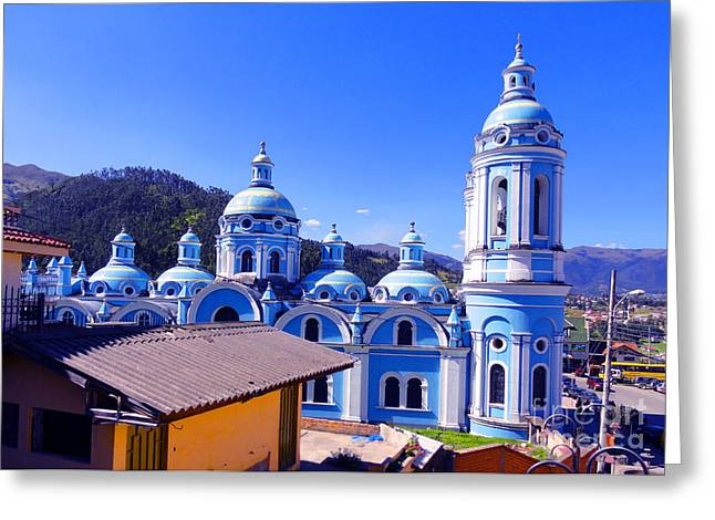 Souvenir Photo Studio Greeting Cards - Church In Banos Ecuador Greeting Card by Al Bourassa