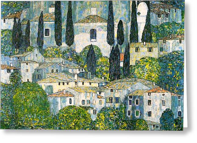 Historic Home Greeting Cards - Church In Cassone Greeting Card by Gustav Klimt