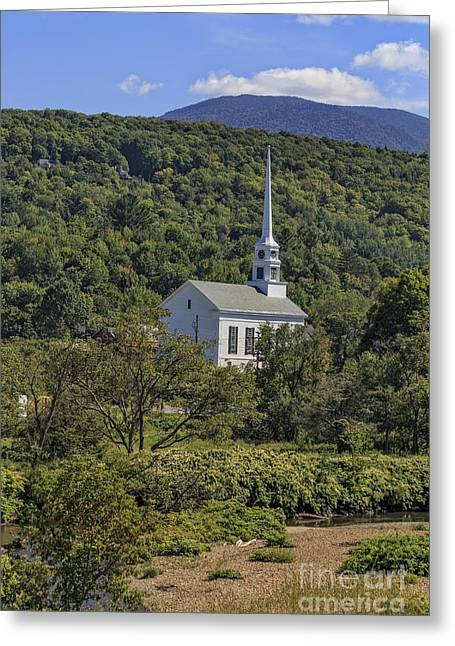 New England Village Greeting Cards - Church in Stowe Vermont Greeting Card by Edward Fielding
