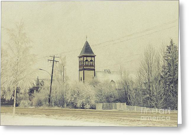 Church In The Fog Greeting Card by Priska Wettstein