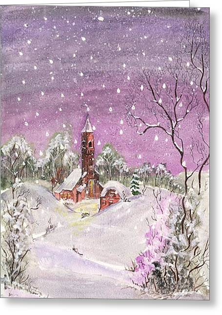 Snowy Night Night Greeting Cards - Church in the snow Greeting Card by Darren Cannell