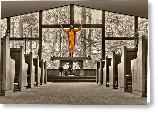Religion Greeting Cards - Church in the Woods Greeting Card by Maria Coulson