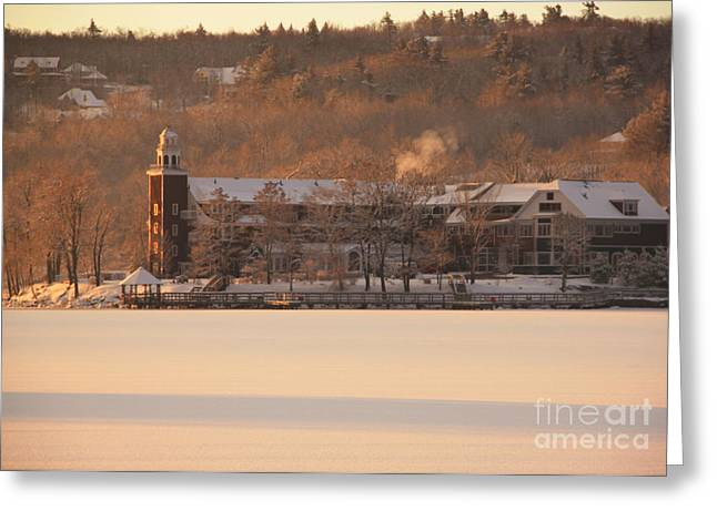 Recently Sold -  - New England Village Greeting Cards - Church Landing in January Greeting Card by Michael Mooney