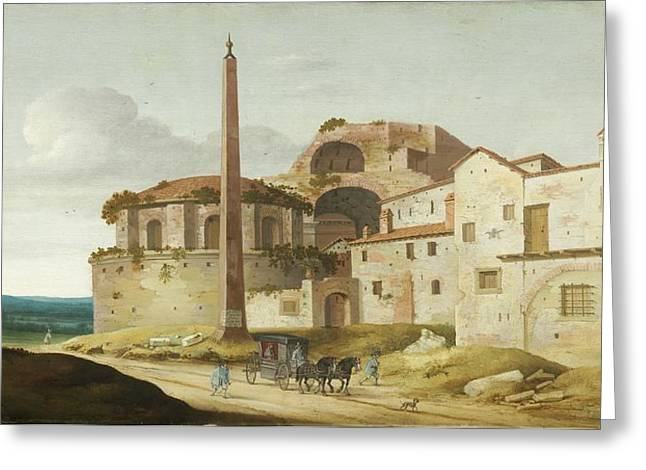 Horse And Buggy Paintings Greeting Cards - Church Of Santa Maria Della Febbre - Rome Greeting Card by Pieter Jansz Saenredam