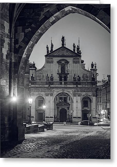 Church Of St. Salvador 1. Prague. Monochrome Greeting Card by Jenny Rainbow