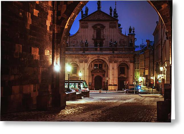 Church Of St. Salvador. Prague Greeting Card by Jenny Rainbow