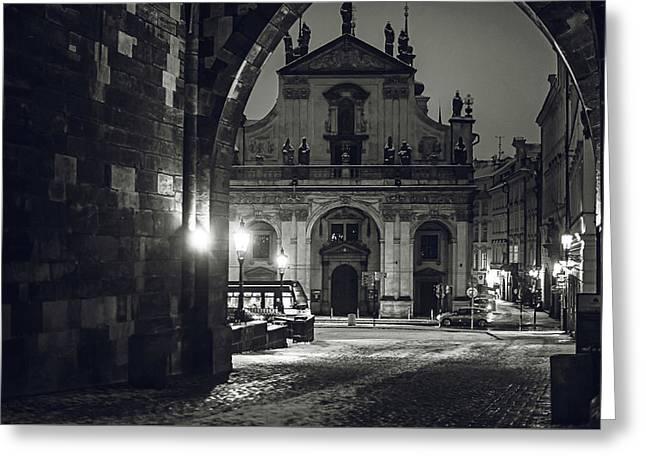 Church Of St. Salvador. Prague. Monochrome Greeting Card by Jenny Rainbow