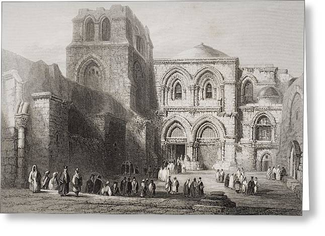 Sepulchre Drawings Greeting Cards - Church Of The Holy Sepulchre Greeting Card by Vintage Design Pics
