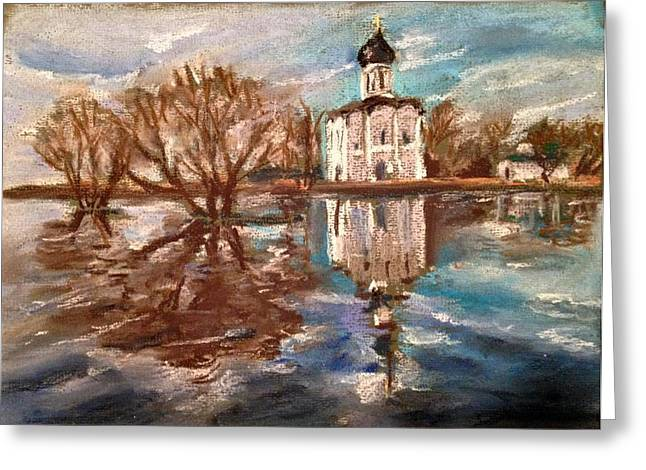 Orthodox Pastels Greeting Cards - Church of the Intercession on the Nerl Greeting Card by Masha Novoselova