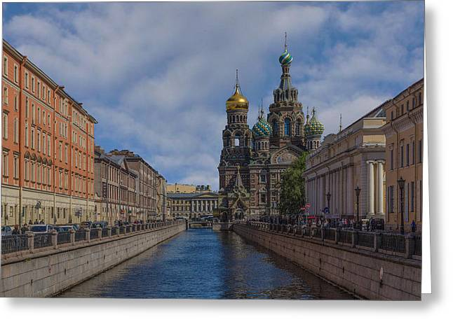 Cupola Mixed Media Greeting Cards - Church of the Savior on Spilled Blood Greeting Card by Capt Gerry Hare