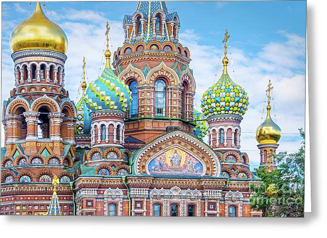 Church Of The Savior On Spilled Blood Greeting Card by Delphimages Photo Creations