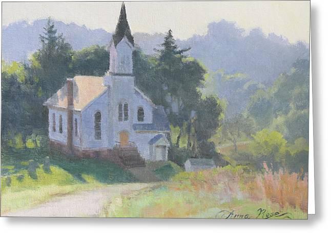 Church On A Hill Greeting Card by Anna Rose Bain
