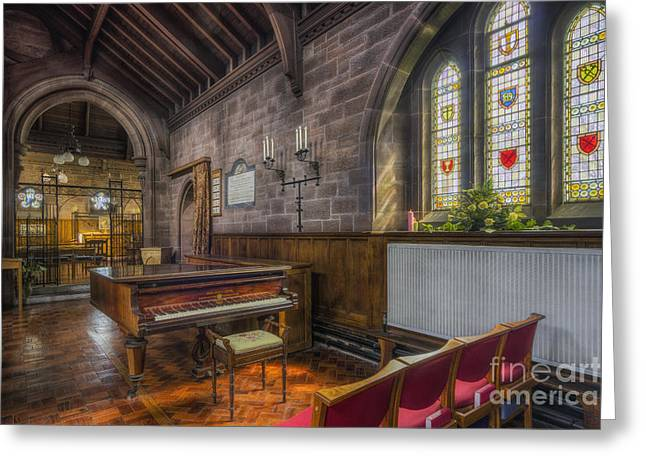 Medieval Temple Greeting Cards - Church Piano Greeting Card by Ian Mitchell