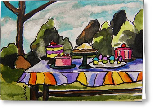 Table Cloth Drawings Greeting Cards - Church Picnic Greeting Card by John  Williams