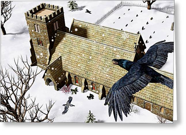 Church Ravens Greeting Card by Peter J Sucy