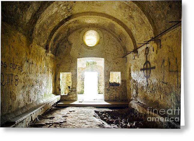 Medieval Entrance Photographs Greeting Cards - Church Ruin Greeting Card by Carlos Caetano