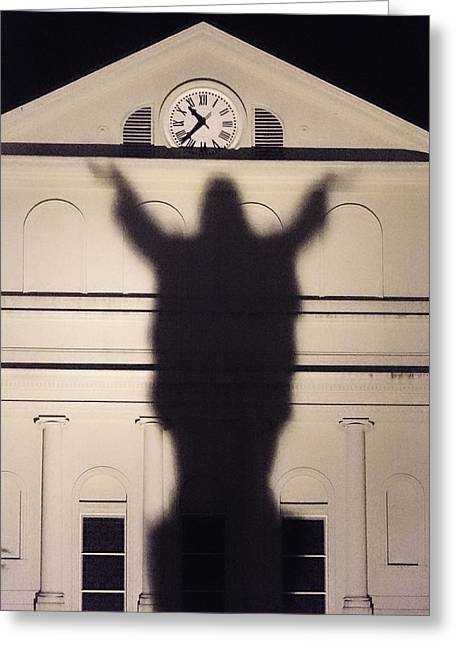 Ghost Hand Greeting Cards - Church Shadow Greeting Card by Garry Gay