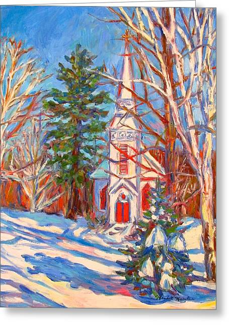 Green And Yellow Greeting Cards - Church Snow Scene Greeting Card by Kendall Kessler