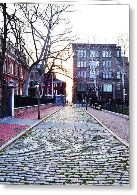 Old Christ Church Greeting Cards - Church Street Cobblestones - Philadelphia Greeting Card by Bill Cannon