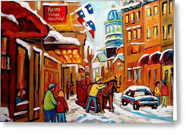 Montreal Winterscenes Paintings Greeting Cards - Church Street In Winter Greeting Card by Carole Spandau