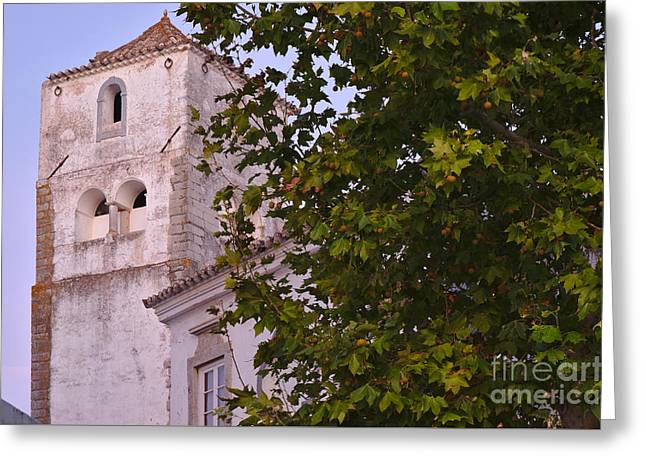 Church Tower And Tree Greeting Card by Angelo DeVal