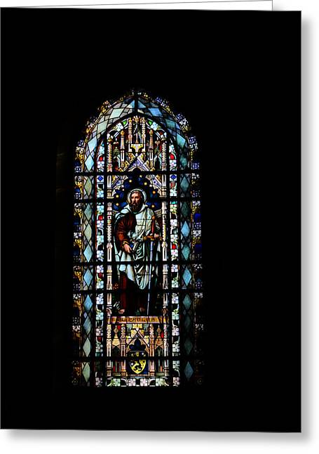 Religious Mosaic Mixed Media Greeting Cards - Church window  Greeting Card by Toppart Sweden