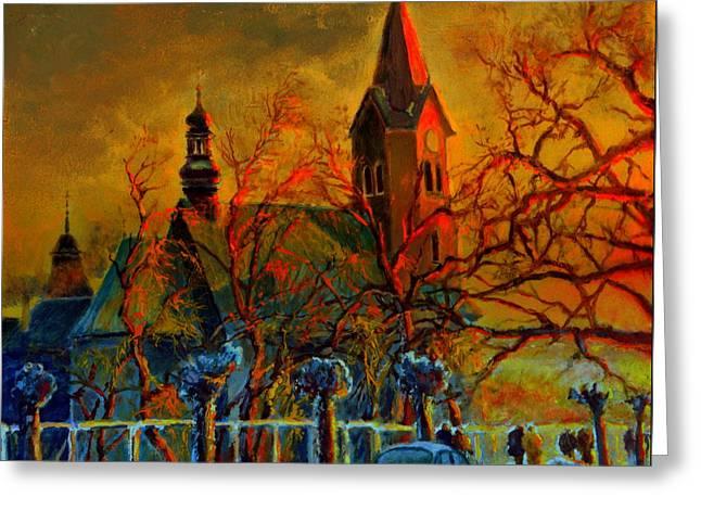 Church Winter Sunset Greeting Card by Henryk Gorecki