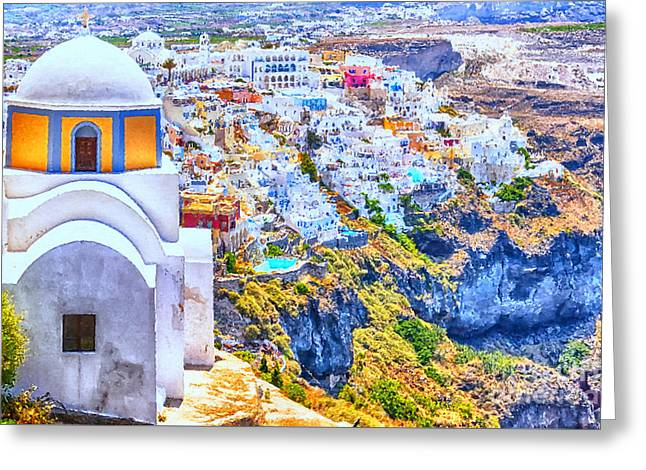 Mediterranean Landscape Digital Art Greeting Cards - Church With Fira in the background Digital Painting Greeting Card by Antony McAulay
