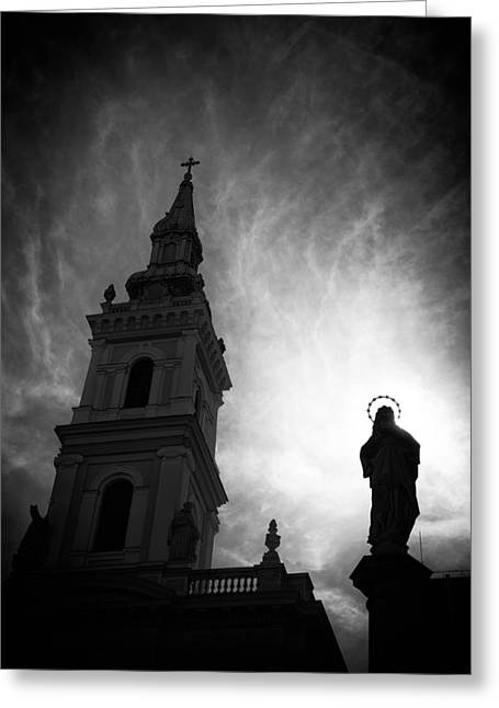 Christus Greeting Cards - Church with Jesus statue black and white Greeting Card by Matthias Hauser