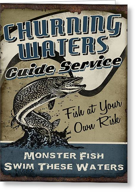 Retro Antique Greeting Cards - Churning Waters Guide Service Greeting Card by JQ Licensing