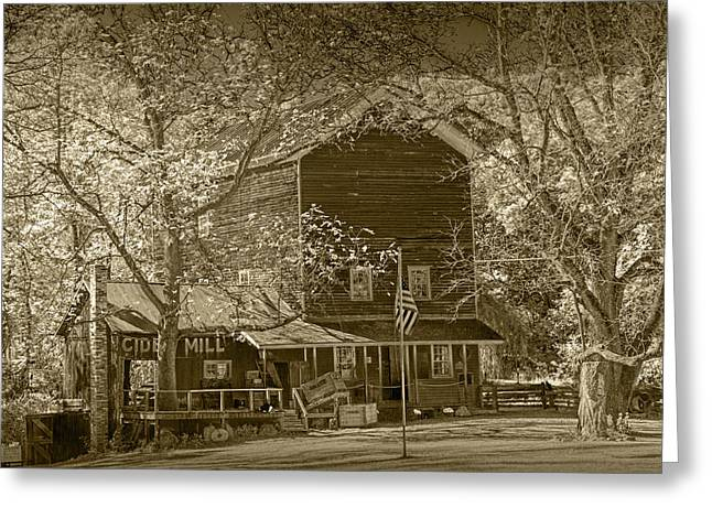 Cider Mill Greeting Cards - Cider Mill near Gun Lake in Sepia Tone Greeting Card by Randall Nyhof