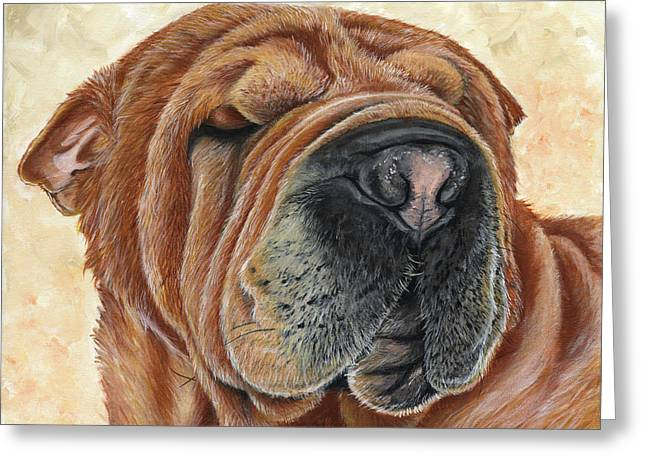 Puppies Paintings Greeting Cards - Cider Greeting Card by Twyla Francois
