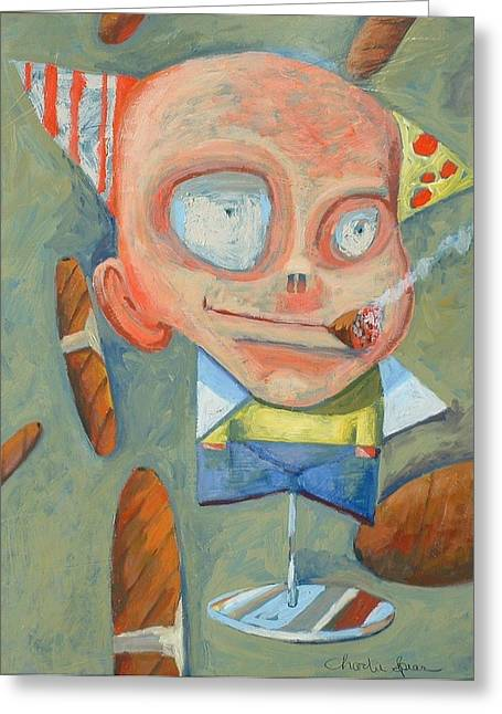 Cigar Paintings Greeting Cards - Cigar Boy Greeting Card by Charlie Spear