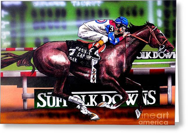 Race Horse Greeting Cards - Cigar Greeting Card by Dave Olsen